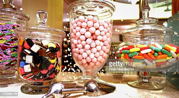 Jars of confectionary are displayed at Fortnum amd Mason on October 30 2007 in London London's most famous food shop will celebrate it's 300th year...