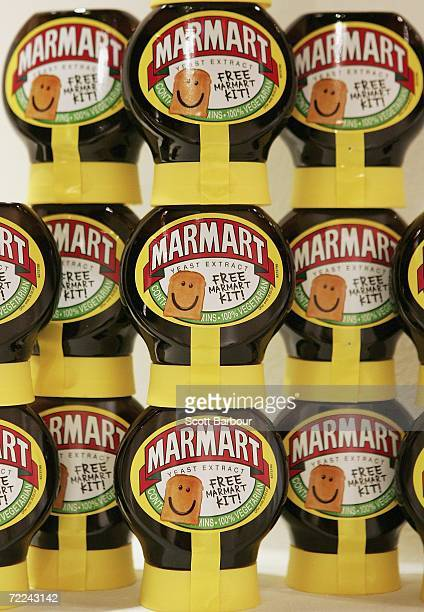 Jars of Marmite sit on display during the Marmart exhibition at the Air Gallery on October 23 2006 in London England Artist Dermot Flynn has produced...