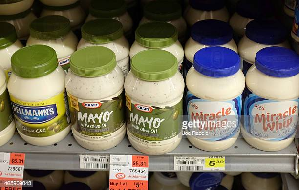Jars of mayonnaise are seen in a store on January 30 2014 in Miami Florida The US now consumes some $2 billion worth of mayonnaise each year which is...