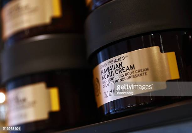 Jars of Spa of the World Hawaiian Kukui cream sit on display inside a Body Shop International Plc store owned by L'Oreal SA in London UK on Thursday...