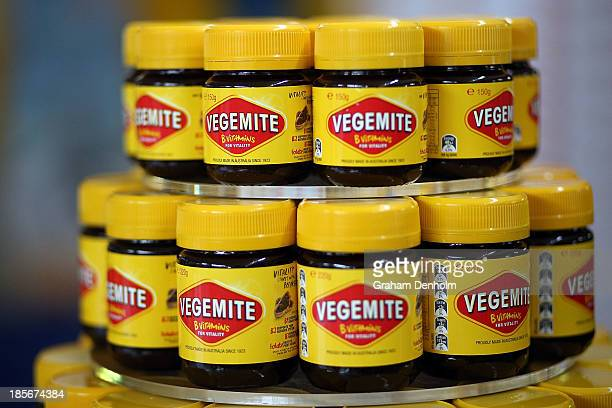 Jars of Vegemite are seen during a press call to celebrate the Vegemite brand's 90th year at the Vegemite factory on October 24 2013 in Melbourne...
