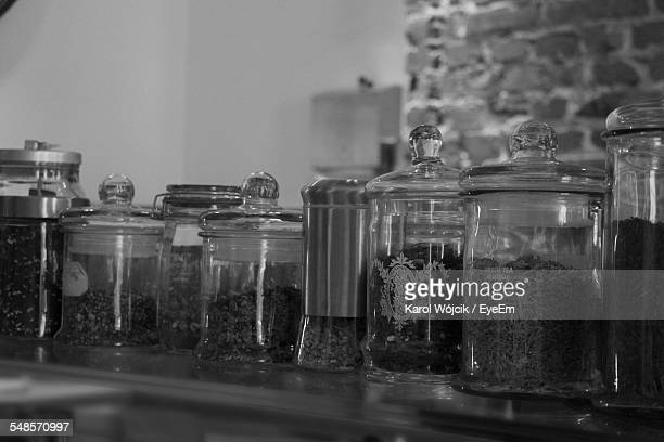 Jars On Display With Different Variety Of Coffee Beans In Store