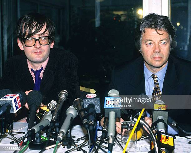 Jarvis Cocker and His Solicitor Anthony Burton during Jarvis Cocker of Pulp DJing at HMV Oxford Street London October 1st 1997 at HMV Oxford Street...