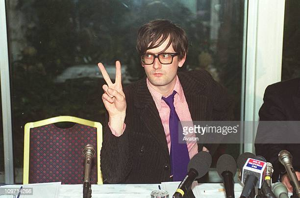 Jarvis Cocker British Pop Singer Member of the pop group 'Pulp' Pictured at press conference following a court appearance where he was told that he...