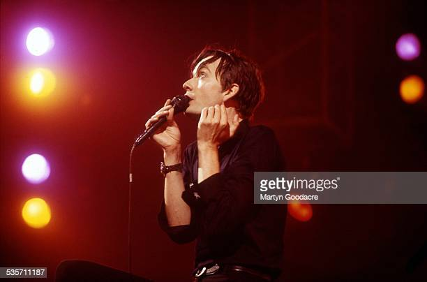 Jarvis Cocker of Pulp performs on stage United Kingdom 1995