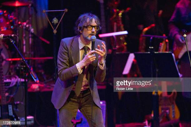 Jarvis Cocker performs on stage as part of Beck's experimental Song Reader Live at Barbican Centre on July 4 2013 in London England