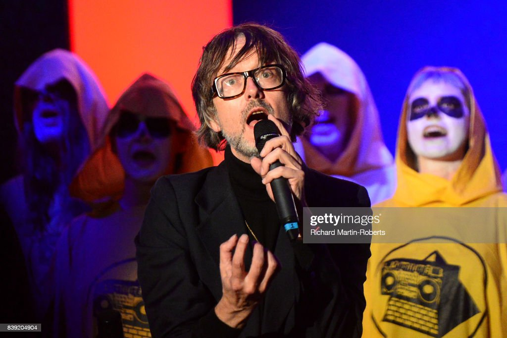 Jarvis Cocker sings at The Rites of Mu as The Justified Ancients of Mu Mu Present 'Welcome To The Dark Ages' on August 25, 2017 in Liverpool, England.