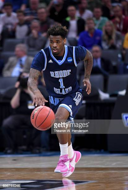 Jarvis Garrett of the Rhode Island Rams handles the ball on offense against the Oregon Ducks during the second round of the 2017 NCAA Men's...