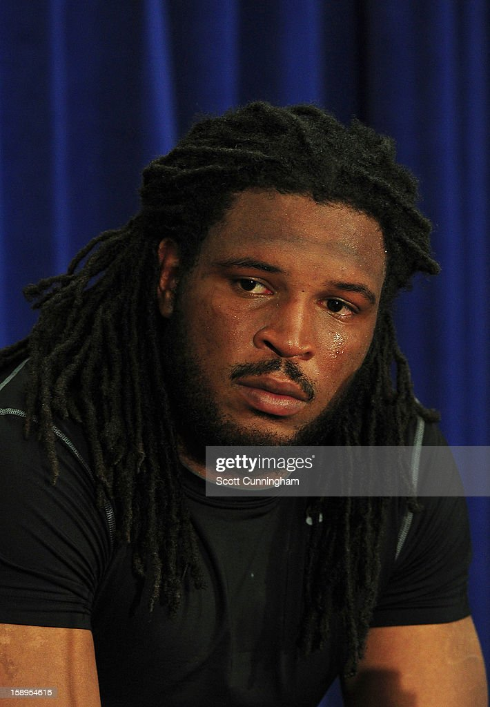 Jarvis Jones #29 of the Georgia Bulldogs speaks to the media after the Capital One Bowl against the Nebraska Cornhuskers at the Citrus Bowl on January 1, 2013 in Orlando, Florida.