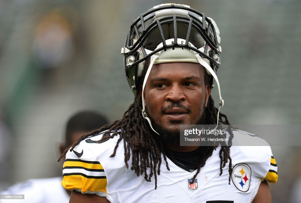 <a gi-track='captionPersonalityLinkClicked' href=/galleries/search?phrase=Jarvis+Jones&family=editorial&specificpeople=6236463 ng-click='$event.stopPropagation()'>Jarvis Jones</a> #95 of the Pittsburgh Steelers looks on during pre-game warm ups prior to playing the Oakland Raiders at O.co Coliseum on October 27, 2013 in Oakland, California.