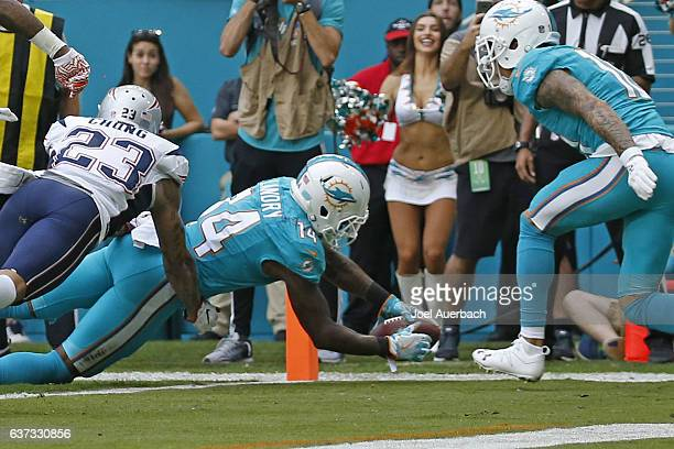 Jarvis Landry of the Miami Dolphins dives into the end zone to score a second quarter touchdown against the New England Patriots on January 1 2017 at...