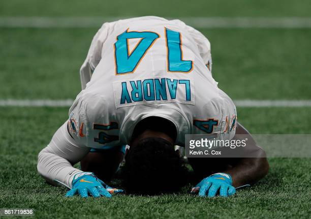 Jarvis Landry of the Miami Dolphins is seen near the end zone prior to the game against the Atlanta Falcons at MercedesBenz Stadium on October 15...