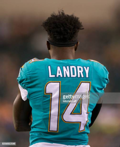 Jarvis Landry of the Miami Dolphins looks on against the Philadelphia Eagles in the preseason game at Lincoln Financial Field on August 24 2017 in...