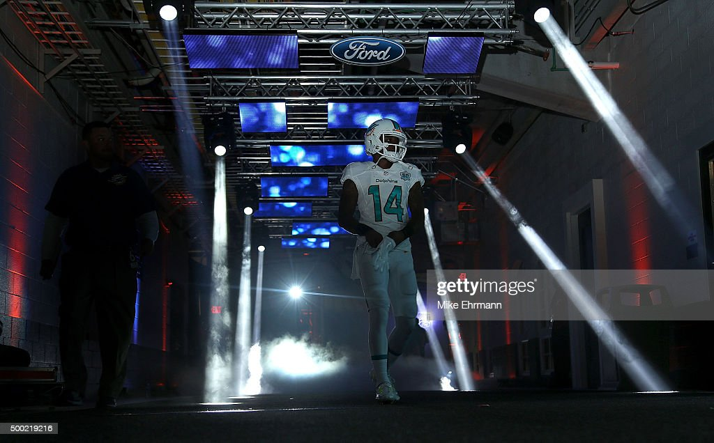 Jarvis Landry #14 of the Miami Dolphins looks on during a game against the Baltimore Ravens at Sun Life Stadium on December 6, 2015 in Miami Gardens, Florida.