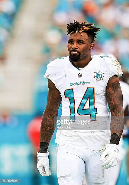Jarvis Landry of the Miami Dolphins looks on from the sidelines during the second half of the game against the Indianapolis Colts at Sun Life Stadium...