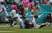 Jarvis Landry of the Miami Dolphins rushes for a touchdown during a game against the Houston Texans at Sun Life Stadium on October 25 2015 in Miami...