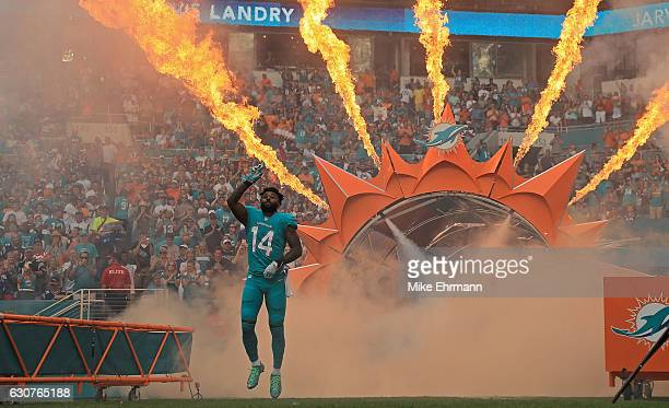 Jarvis Landry of the Miami Dolphins takes the field during a game against the New England Patriots at Hard Rock Stadium on January 1 2017 in Miami...