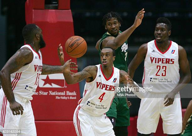 Jarvis Threatt of the Rio Grande Valley Vipers grabs a loose ball past Kadeem Jack of the Reno Bighorns during the first quarter of their game at the...
