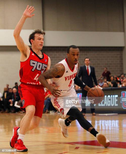 Jarvis Threatt of the Rio Grande Valley Vipers moves around Brady Heslip of the Raptors 905 during the first game of the NBA DLeague Finals at the...