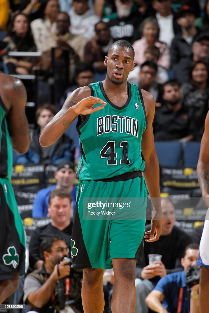 Jarvis Varnado of the Boston Celtics in a game against the Golden State Warriors on December 29 2012 at Oracle Arena in Oakland California NOTE TO...