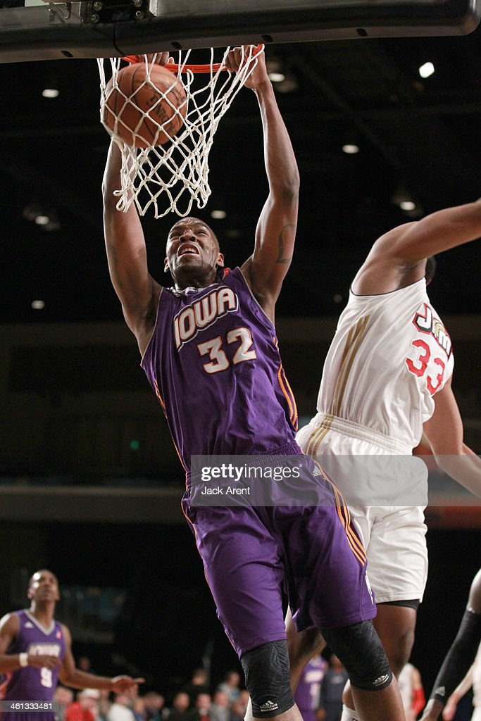 Jarvis Varnado of the Iowa Energy slam dunks the ball against the Bakersfield Jam during the 2014 NBA DLeague Showcase presented by Samsung Galaxy on...