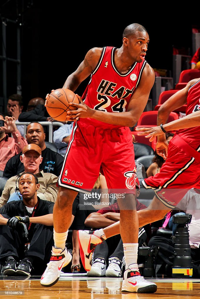 <a gi-track='captionPersonalityLinkClicked' href=/galleries/search?phrase=Jarvis+Varnado&family=editorial&specificpeople=4186391 ng-click='$event.stopPropagation()'>Jarvis Varnado</a> #24 of the Miami Heat controls the ball against the Los Angeles Clippers on February 8, 2013 at American Airlines Arena in Miami, Florida.