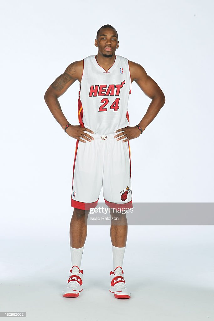 Jarvis Varnado of the Miami Heat poses for a photo during media day on September 30 2013 at the American Airlines Arena in Miami Florida NOTE TO USER...