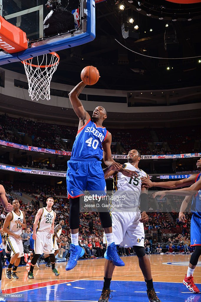 Jarvis Varnado of the Philadelphia 76ers goes up for the dunk against the Utah Jazz at the Wells Fargo Center on March 8 2014 in Philadelphia...