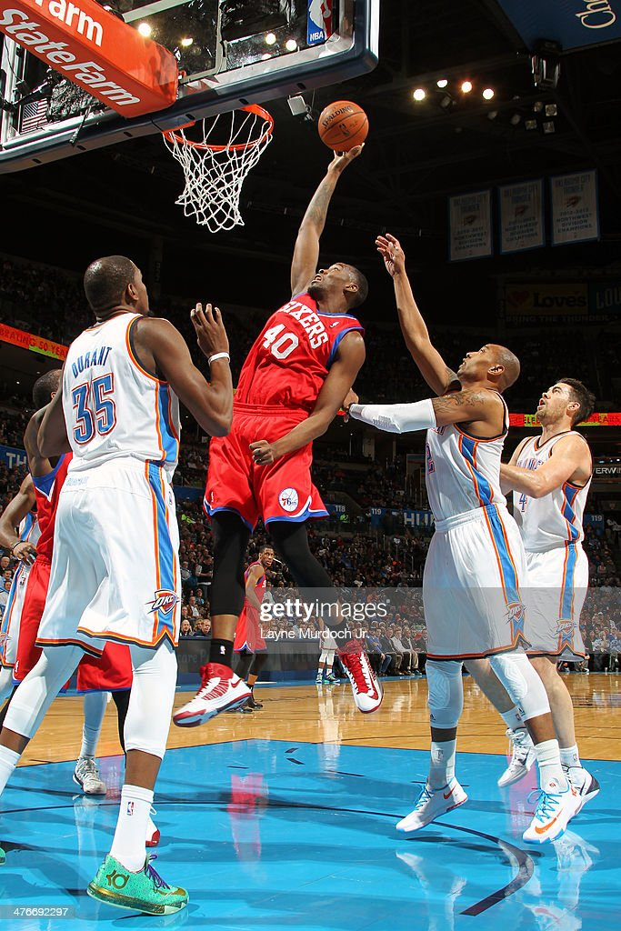 Jarvis Varnado of the Philadelphia 76ers goes up for the layup against the Oklahoma City Thunder during an NBA game on March 4 2014 at the Chesapeake...