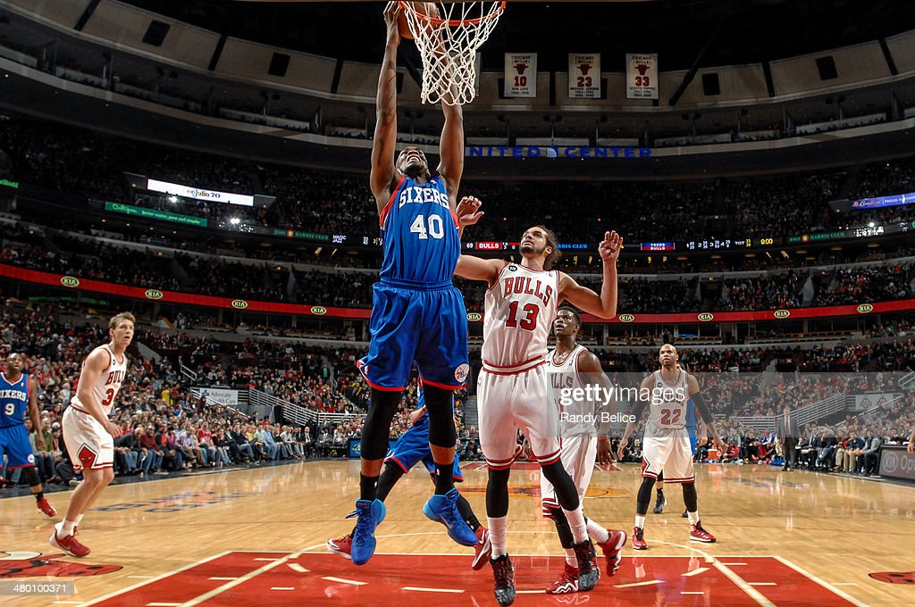 Jarvis Varnado of the Philadelphia 76ers shoots against the Chicago Bulls on March 22 2013 at the United Center in Chicago Illinois NOTE TO USER User...