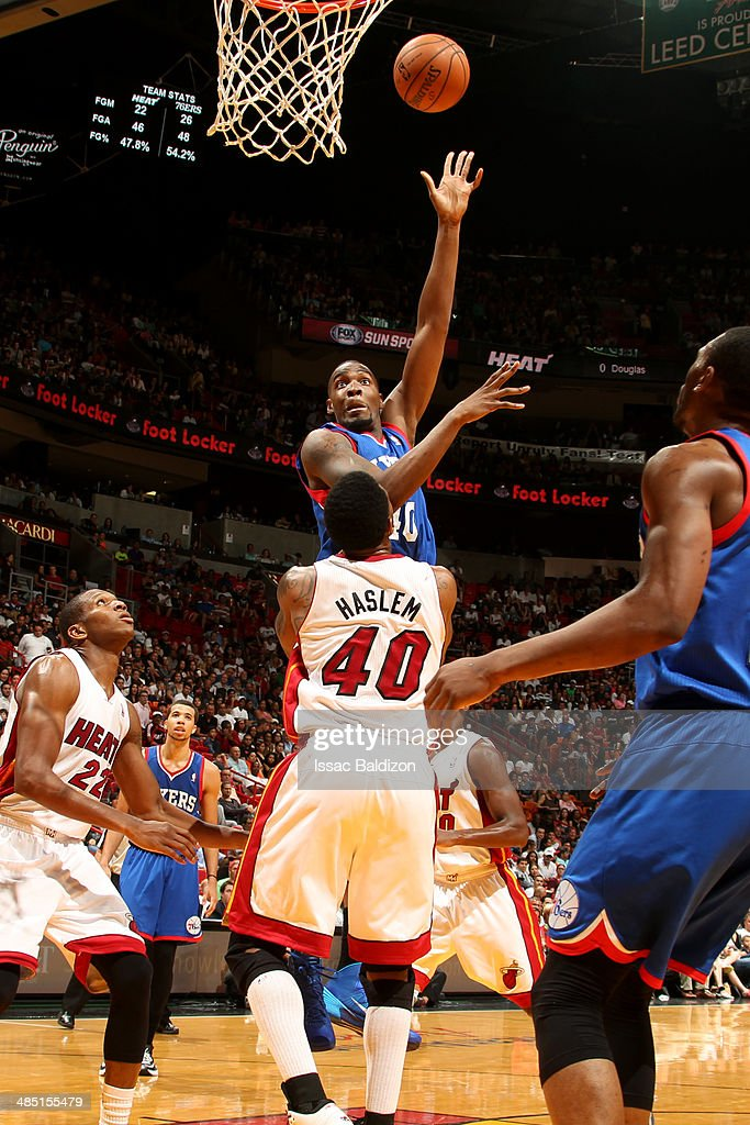 Jarvis Varnado of the Philadelphia 76ers shoots against the Miami Heat at the American Airlines Arena in Miami Florida on April 16 2014 NOTE TO USER...