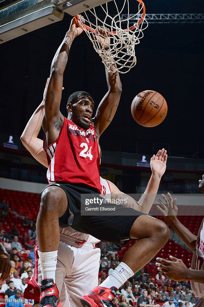 Jarvis Varnado of the Miami Heat dunks the ball during NBA Summer League game between the Cleveland Cavaliers and the Miami Heat on July 20 2013 at...