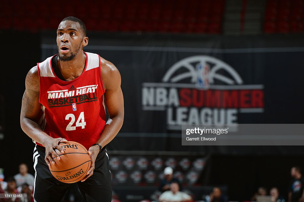 Jarvis Varnado of the Miami Heat handles the ball during NBA Summer League game between the Cleveland Cavaliers and the Miami Heat on July 20 2013 at...