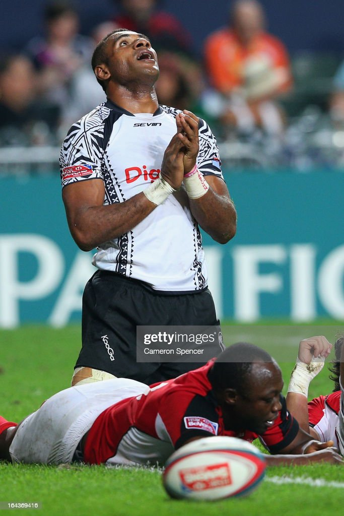 Jasa Veremalua of Fiji celebrates scoring a try during the match between Canada and Fiji during day two of the 2013 Hong Kong Sevens at Hong Kong Stadium on March 23, 2013 in So Kon Po, Hong Kong.