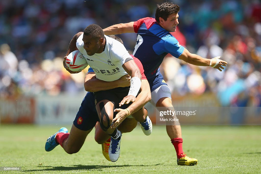 Jasa Veremalua of Fiji is tackled during the 2016 Sydney Sevens match between Fiji and France at Allianz Stadium on February 6, 2016 in Sydney, Australia.
