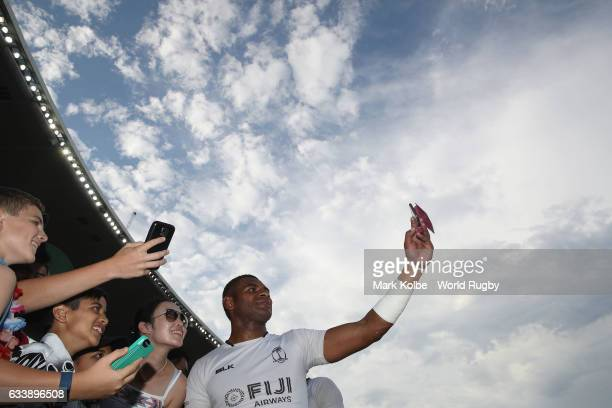 Jasa Veremalua of Fiji takes a selfie with people in the crowd after the 5th place playoff match between Fiji and USA in the 2017 HSBC Sydney Sevens...