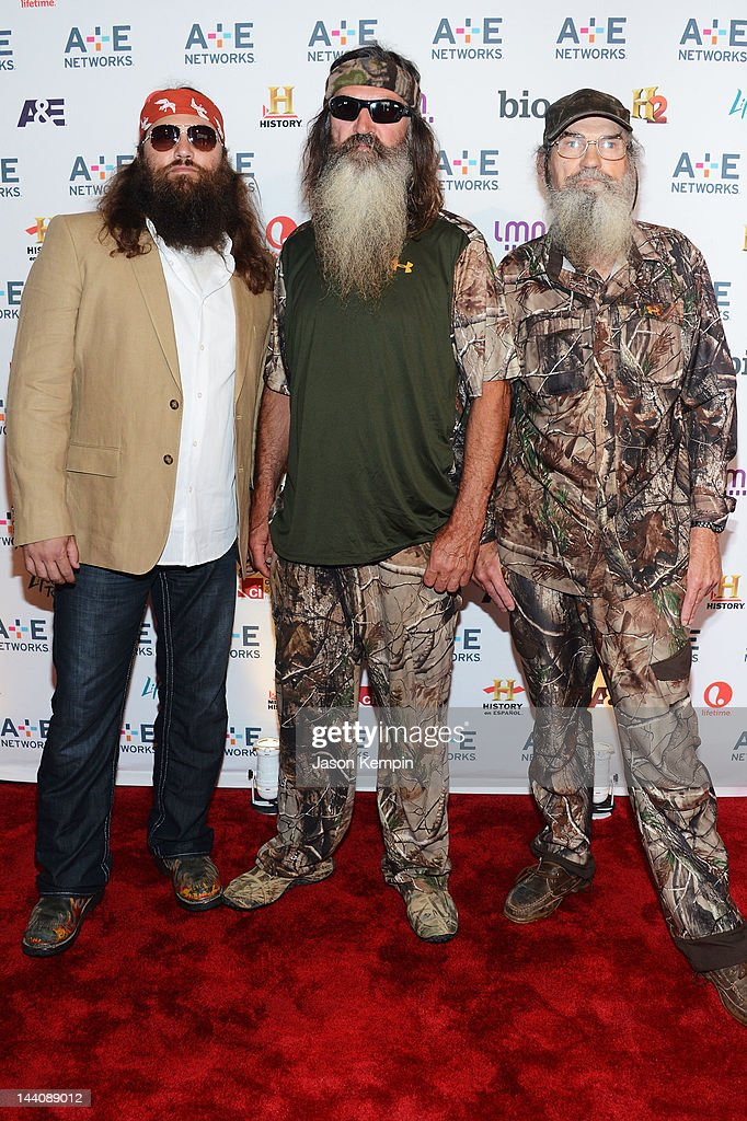 Jase Robertson, <a gi-track='captionPersonalityLinkClicked' href=/galleries/search?phrase=Phil+Robertson&family=editorial&specificpeople=4043277 ng-click='$event.stopPropagation()'>Phil Robertson</a> and Si Robertson attend A&E Networks 2012 Upfront at Lincoln Center on May 9, 2012 in New York City.
