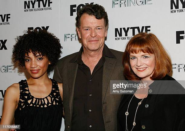 Jasika Nicole actor John Noble and actress Blair Brown attend the premiere of Fringe's second episode at The New York Television Festival held at New...