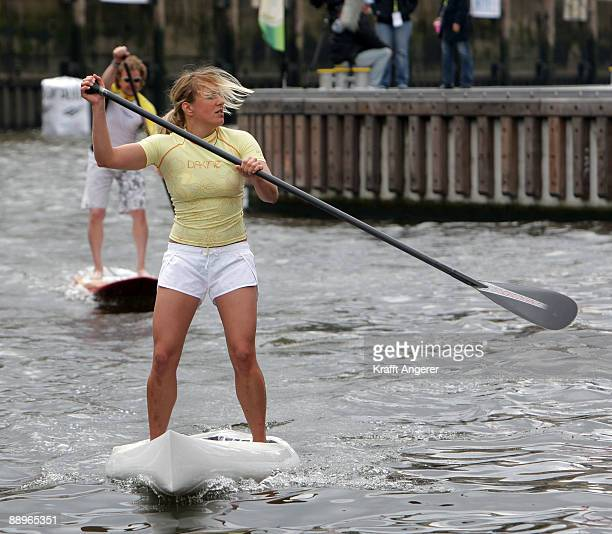 Jasleigh Geary of Australia is seen on heir standup paddleboard during day one of the Jever SUP World Cup 2009 on July 10 2009 in Hamburg Germany