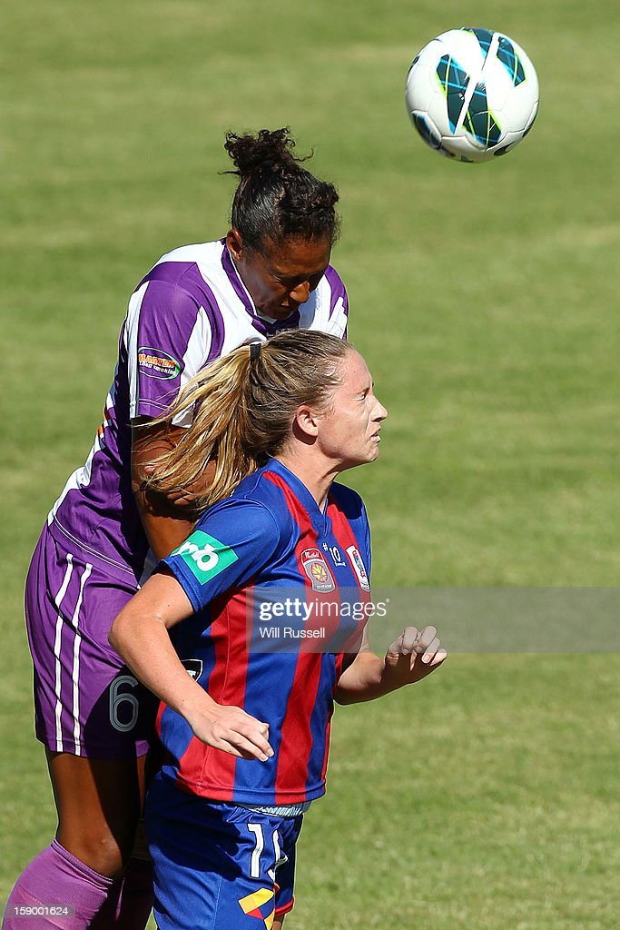 Jasmin Courtenay of the Jets heads the ball during the round 11 W-League match between the Perth Glory and the Newcastle Jets at Intiga Stadium on January 5, 2013 in Perth, Australia.