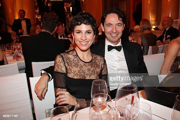 Jasmin Gerat and Martin Bachmann attend the German Film Ball 2014 at Hotel Bayerischer Hof on January 18 2014 in Munich Germany