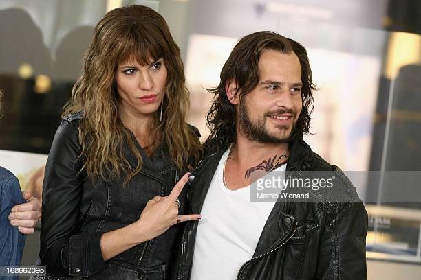 Jasmin Gerat and Moritz Bleibtreu attend the Photocall on set of 'Nicht mein Tag' on May 13 2013 in Cologne Germany