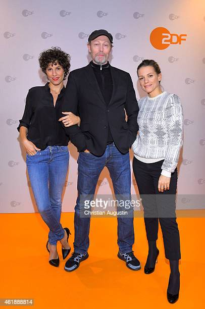 Jasmin Gerat Lars Mikkelsen and Veerle Baetens attend a photocall of 'The Team' at Ehemaliges Hauptzollamt on January 21 2015 in Hamburg Germany