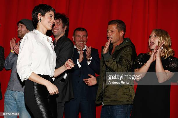 Jasmin Gerat Tom Zickler Til Schweiger and Anna Maria Muehe attend the film 'Nicht mein Tag' on January 13 2014 in Berlin Germany