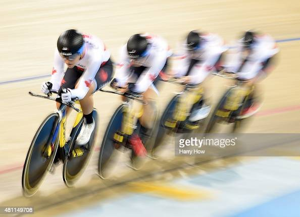 Jasmin Glaesser of Canada takes the lead with her teammates on their way to a gold medal finish in the women's team pursuit cycling track during the...