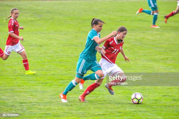 Jasmin Jabbes of Germany challenges Michelle Sandfeld of Denmark during the Nordic Cup 2017 match between U16 Girl's Germany and U16 Girl's Norway on...
