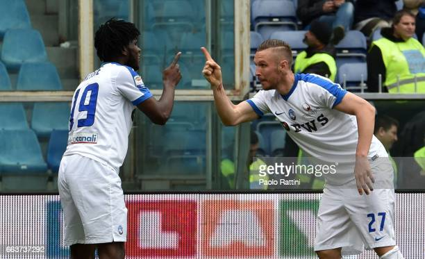 Jasmin Kurtic and Franck Kessi celebrates after score 03 during the Serie A match between Genoa CFC and Atalanta BC at Stadio Luigi Ferraris on...