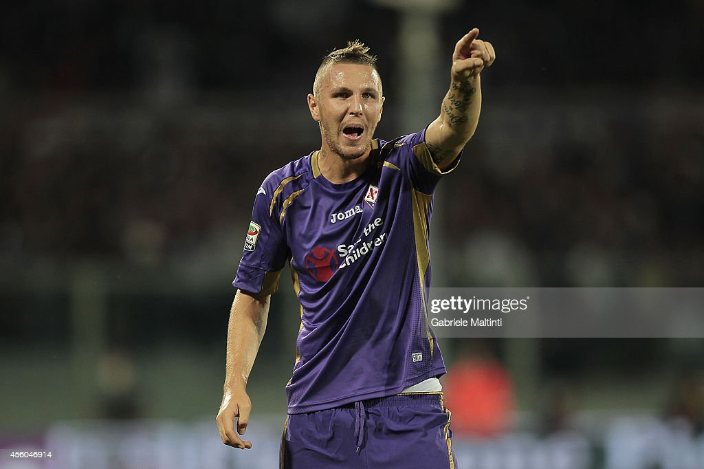<a gi-track='captionPersonalityLinkClicked' href=/galleries/search?phrase=Jasmin+Kurtic&family=editorial&specificpeople=7418994 ng-click='$event.stopPropagation()'>Jasmin Kurtic</a> of ACF Fiorentina gestures during the Serie A match between ACF Fiorentina and US Sassuolo Calcio at Stadio Artemio Franchi on September 24, 2014 in Florence, Italy.