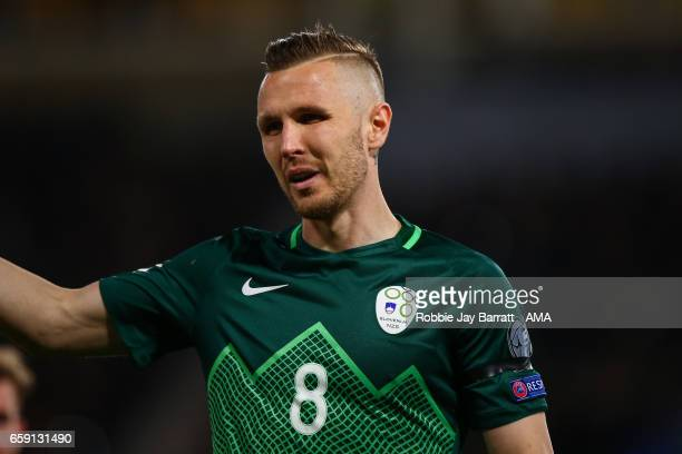 Jasmin Kurtic of Slovenia during the FIFA 2018 World Cup Qualifier between Scotland and Slovenia at Hampden Park on March 26 2017 in Glasgow Scotland