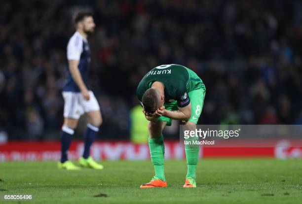 Jasmin Kurtic of Slovenia reacts during the FIFA 2018 World Cup Qualifier between Scotland and Slovenia at Hampden Park on March 26 2017 in Glasgow...